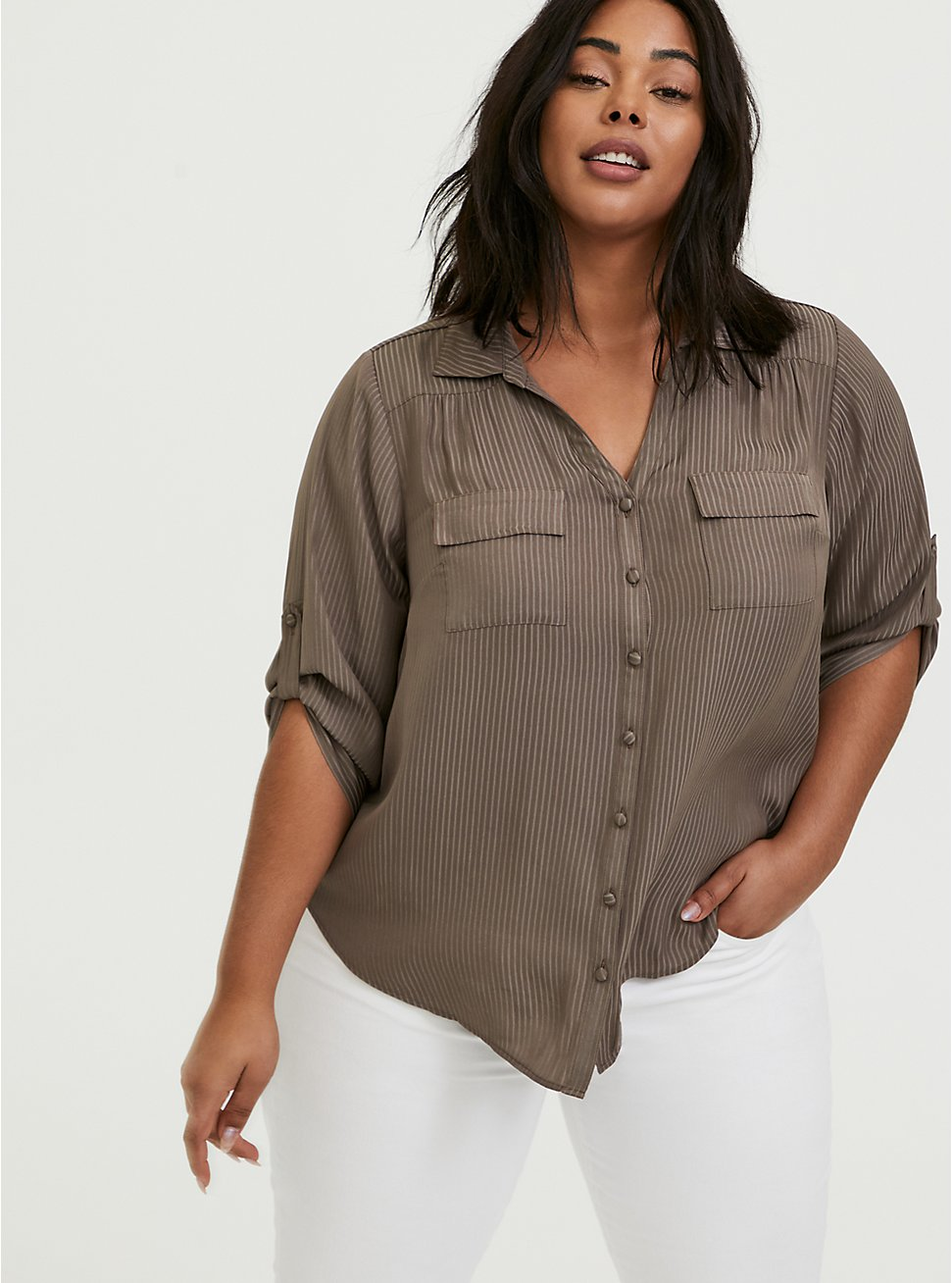 Madison - Dark Taupe Satin Shadow Stripe Button Front Blouse, FALCON, hi-res