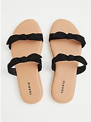 Black Faux Suede Dual Bow Strap Espadrille Slide (WW), BLACK, alternate