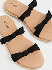 Black Faux Suede Dual Bow Strap Espadrille Slide (WW), BLACK, hi-res