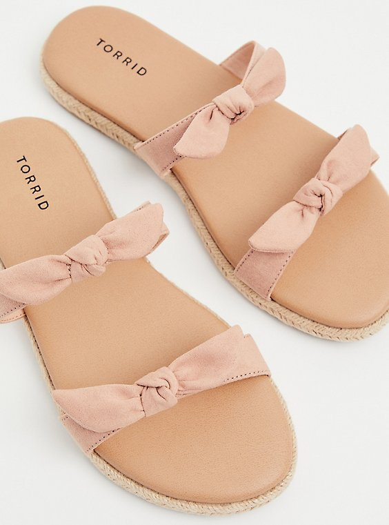 Blush Pink Faux Suede Dual Bow Strap Espadrille Slide (WW), , hi-res