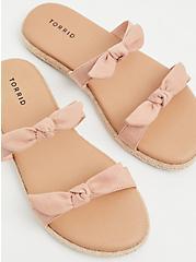 Blush Pink Faux Suede Dual Bow Strap Espadrille Slide (WW), BLUSH, hi-res