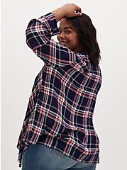 Navy & Red Plaid Crinkle Gauze Drape Cardigan, PLAID - BLUE, alternate