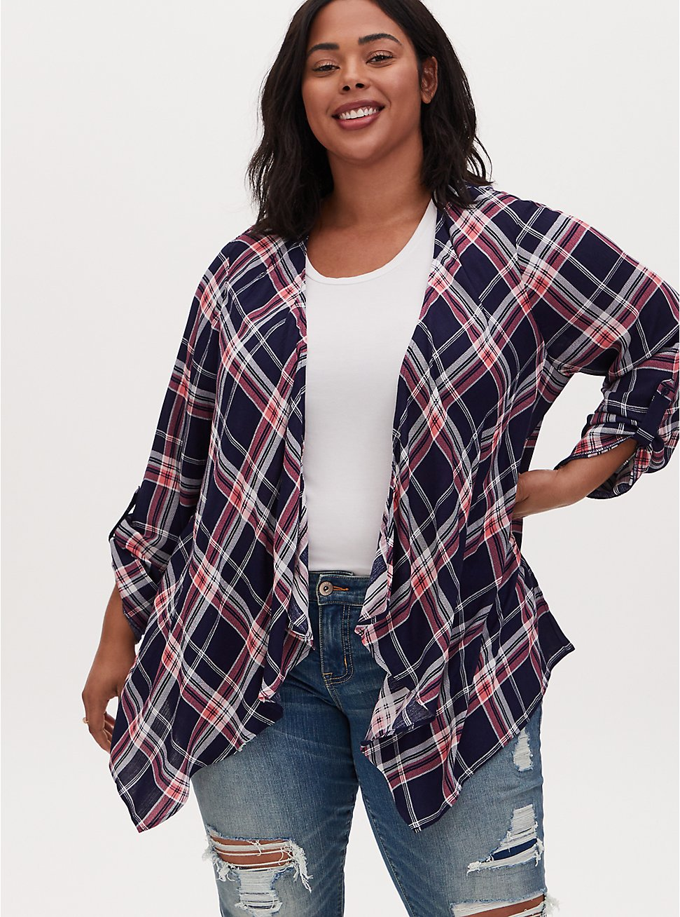 Navy & Red Plaid Crinkle Gauze Drape Cardigan, PLAID - BLUE, hi-res