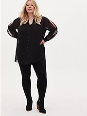 Plus Size Black Sheer Chiffon Vented Sleeve Button Front Tunic Shirt, DEEP BLACK, alternate