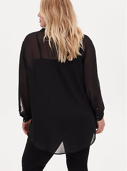 Black Sheer Chiffon Vented Sleeve Button Front Tunic Shirt, DEEP BLACK, alternate