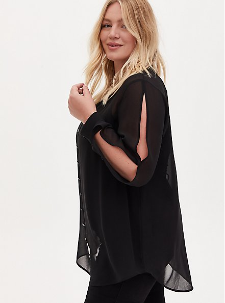 Black Sheer Chiffon Vented Sleeve Button Front Tunic Shirt, DEEP BLACK, hi-res