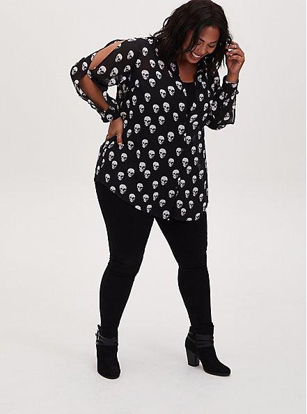 Black Skull Chiffon Split Sleeve Tunic Shirt, SKULL - BLACK, alternate