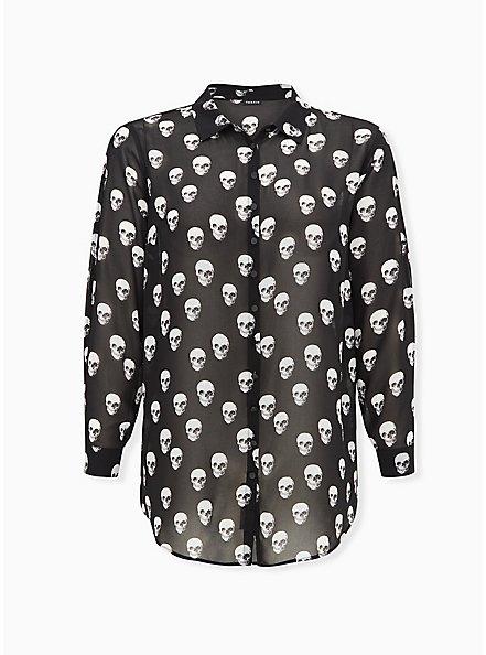 Black Skull Chiffon Split Sleeve Tunic Shirt, SKULL - BLACK, hi-res