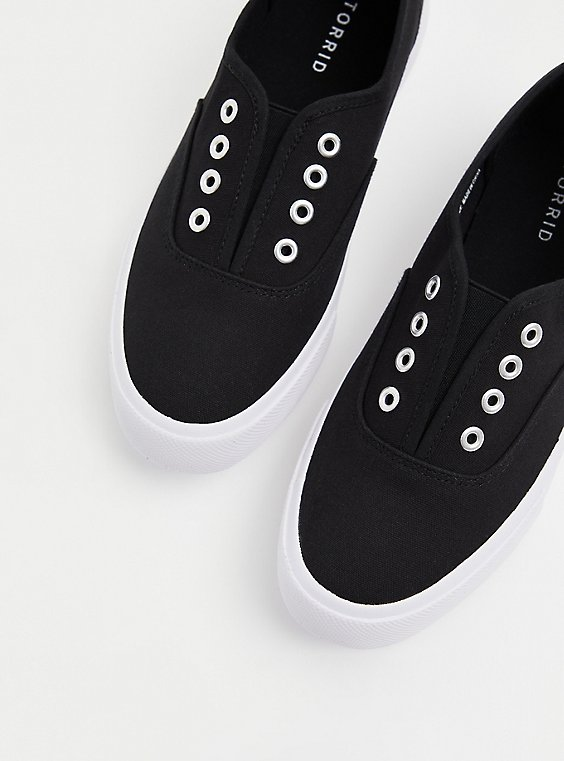 Black Canvas No Laces Slip-On Sneaker (WW), , hi-res