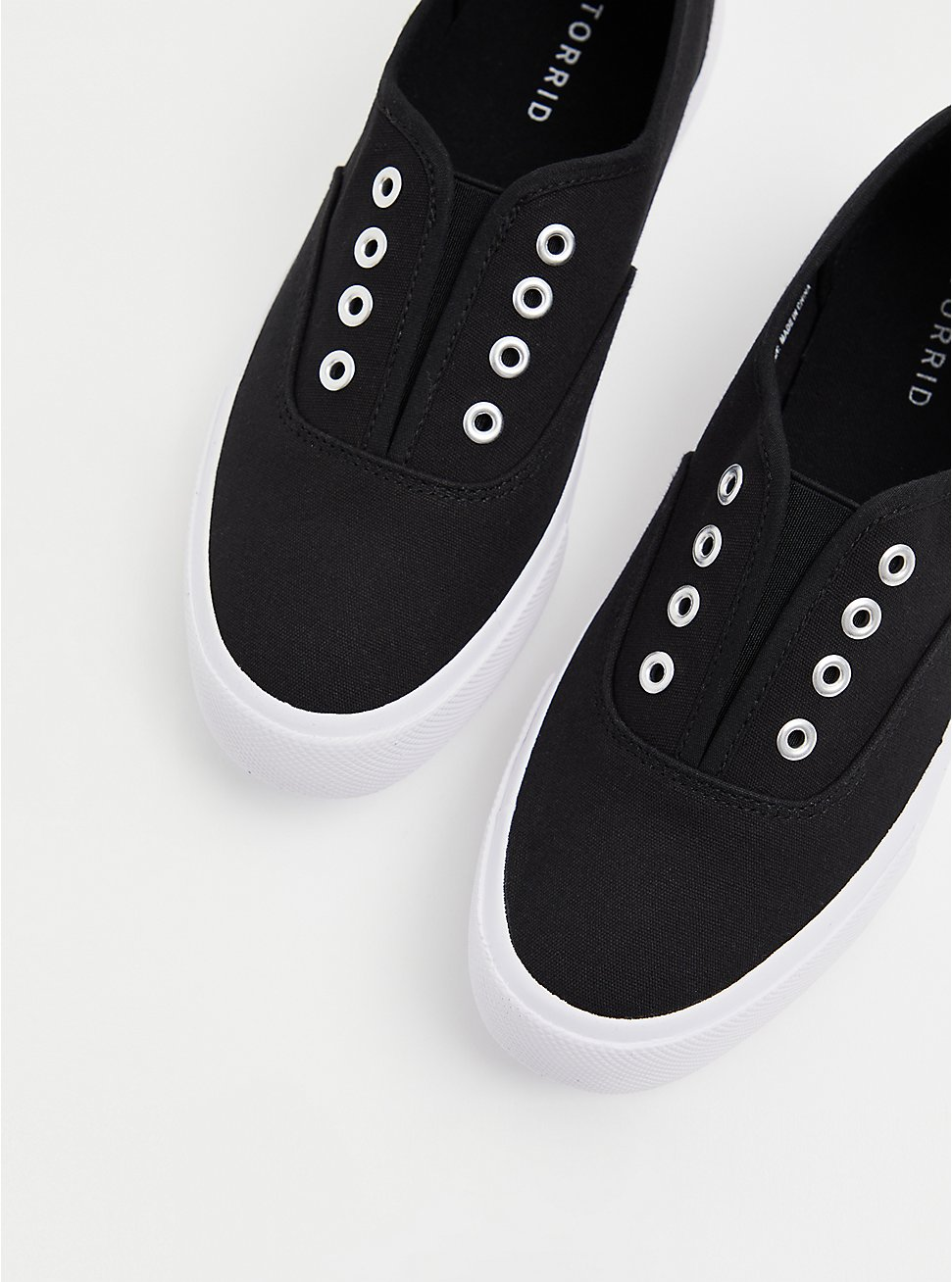 Plus Size Black Canvas No Laces Slip-On Sneaker (WW), BLACK, hi-res
