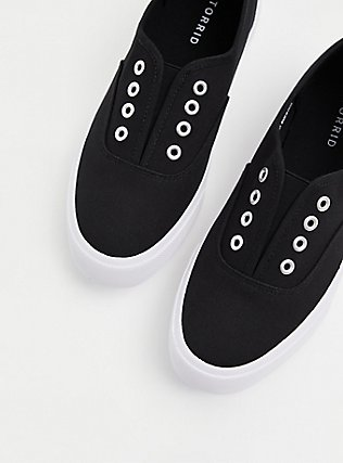 Black Canvas No Laces Slip-On Sneaker (WW), BLACK, hi-res