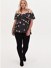 Black Floral Georgette Fit & Flare Cold Shoulder Top, FLORAL - BLACK, alternate