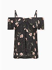 Black Floral Georgette Fit & Flare Cold Shoulder Top, FLORAL - BLACK, hi-res