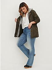 White Stretch Woven Lace Inset Button Front Blouse, CLOUD DANCER, alternate