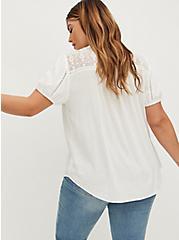 White Stretch Woven Lace Inset Button Front Blouse, CLOUD DANCER, alternate
