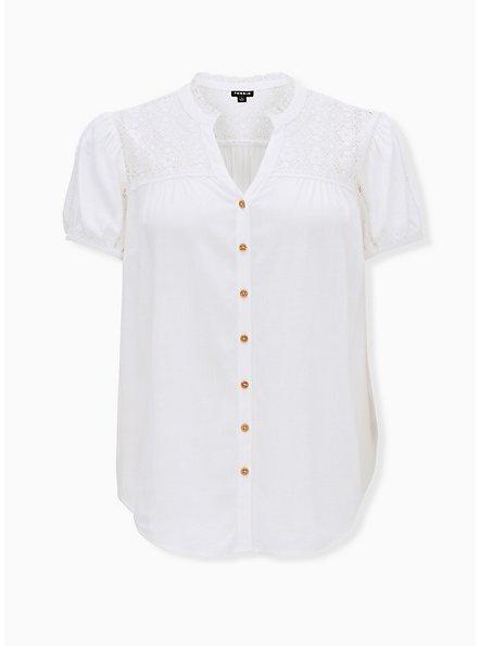 White Stretch Woven Lace Inset Button Front Blouse, CLOUD DANCER, hi-res
