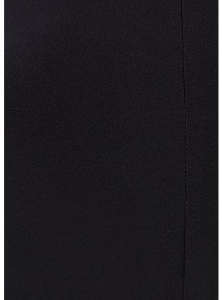 Black Crepe High Neck Skater Dress, DEEP BLACK, alternate