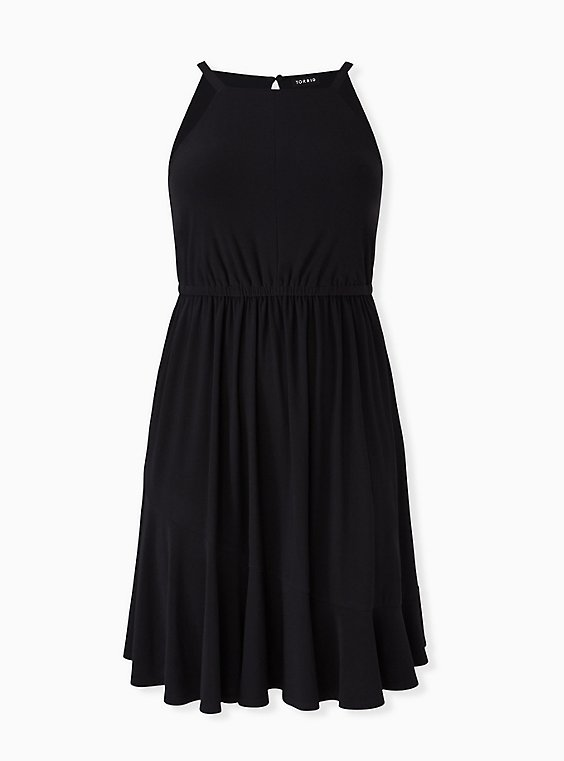 Plus Size Black Crepe High Neck Skater Dress, , hi-res