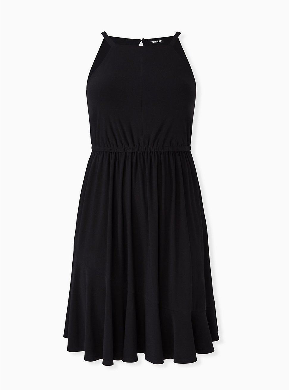 Black Crepe High Neck Skater Dress, DEEP BLACK, hi-res