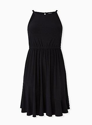 Black Crepe High Neck Skater Dress, DEEP BLACK, hi-res