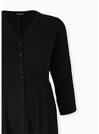 Black Challis Button Front Midi Shirt Dress, DEEP BLACK, alternate