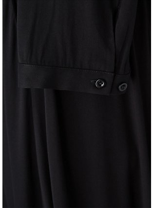 Plus Size Black Challis Button Front Midi Shirt Dress, DEEP BLACK, alternate