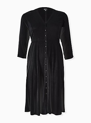 Plus Size Black Challis Button Front Midi Shirt Dress, DEEP BLACK, hi-res