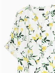 Plus Size Harper - White Lemon Print Button Front Blouse , LEMONY SUMMER, alternate