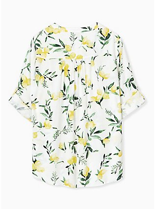 Harper - White Lemon Print Button Front Blouse , LEMONY SUMMER, alternate