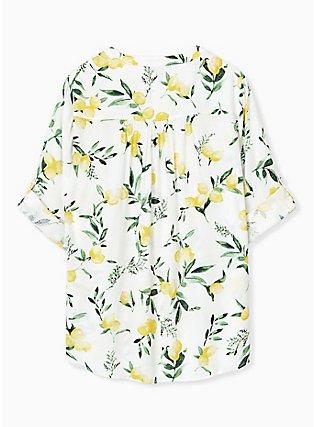 Plus Size Harper - White Lemon Print Button Front Blouse , LEMONY SUMMER, alternate