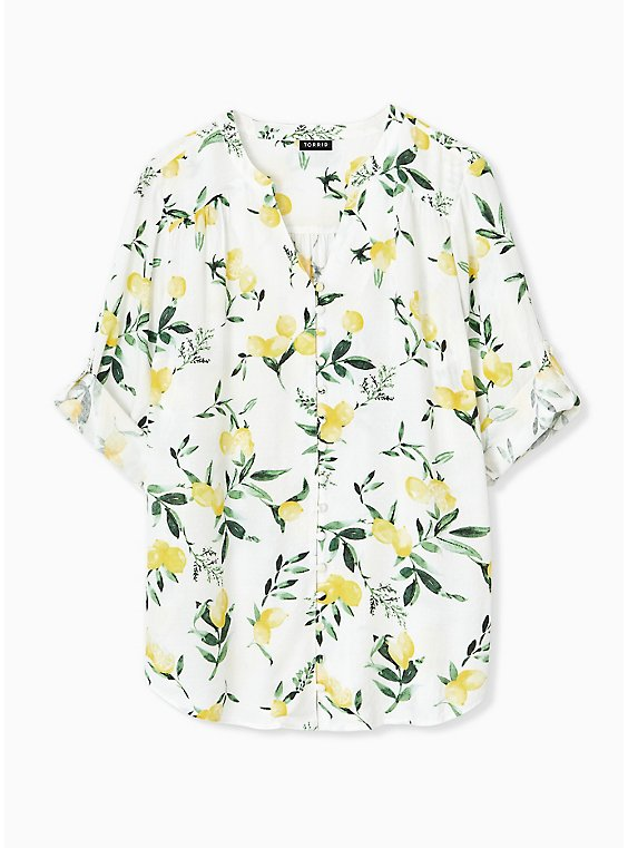 Harper - White Lemon Print Button Front Blouse , , hi-res