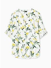 Plus Size Harper - White Lemon Print Button Front Blouse , LEMONY SUMMER, hi-res