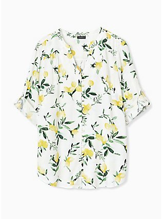 Harper - White Lemon Print Button Front Blouse , LEMONY SUMMER, hi-res