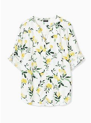 Plus Size Harper - White Lemon Print Button Front Blouse , LEMONY SUMMER, hi-res