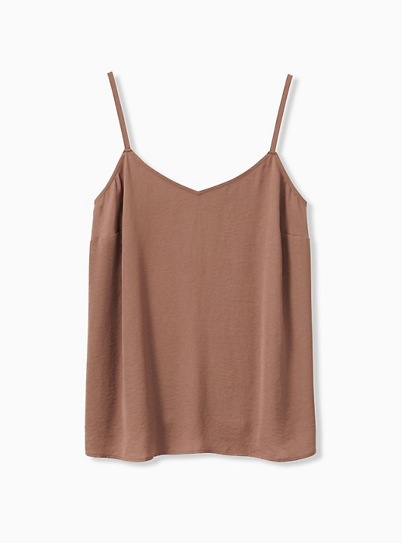 Plus Size Sophie - Dark Taupe Textured Swing Cami, , hi-res