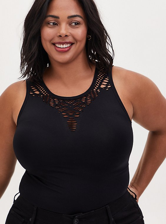 Black Seamless Cutout Tank, , hi-res