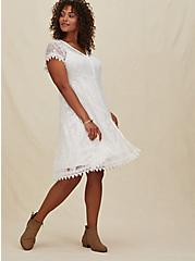 White Lace & Crochet Button Front Dress, CLOUD DANCER, hi-res