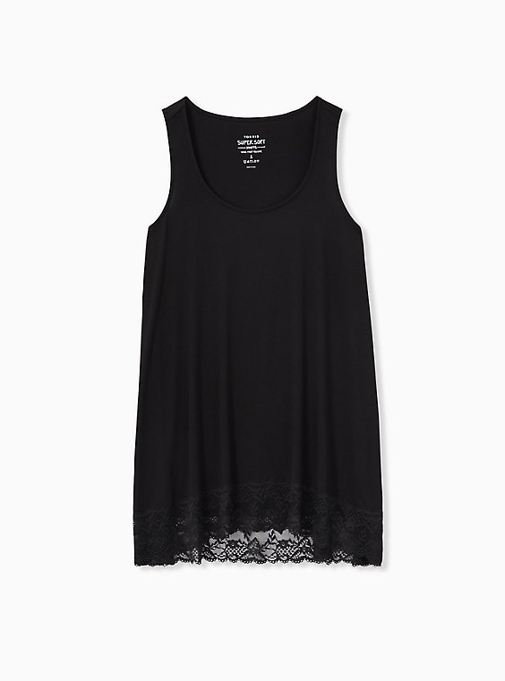 Super Soft Black Lace Trim Tunic Tank, , hi-res