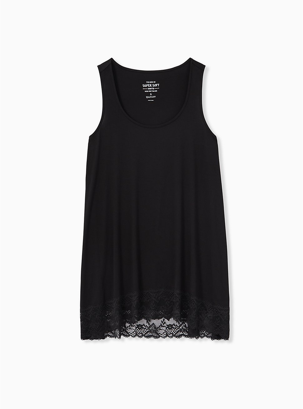 Super Soft Black Lace Trim Tunic Tank, DEEP BLACK, hi-res
