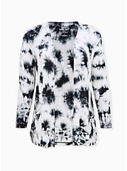 Super Soft Black Tie-Dye & Skull Open Front Cardigan, , hi-res