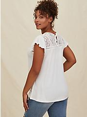 White Textured Tie-Back Lace Yoke Top, CLOUD DANCER, alternate