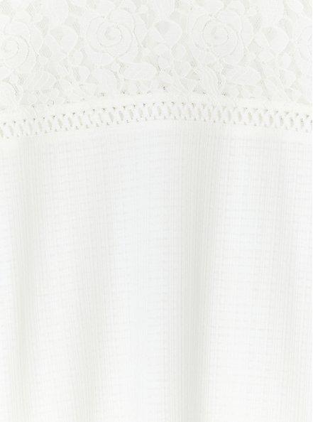 White Textured Tie-Back Lace Yoke Top, CLOUD DANCER, alternate