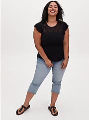 Black Textured Tie-Back Lace Yoke Top, DEEP BLACK, alternate