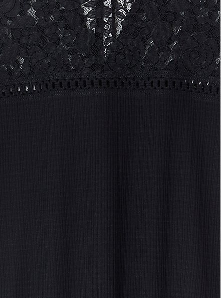 Black Textured Tie-Back Lace Yoke Top, DEEP BLACK, alternate