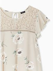 Tan Floral Textured Tie-Back Lace Yoke Top, FLORALS-NUDE, alternate