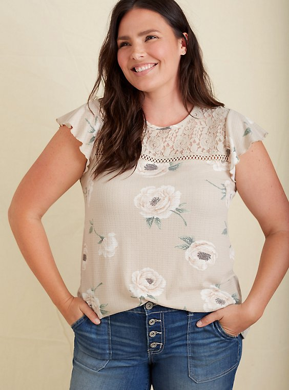Tan Floral Textured Tie-Back Lace Yoke Top, , hi-res