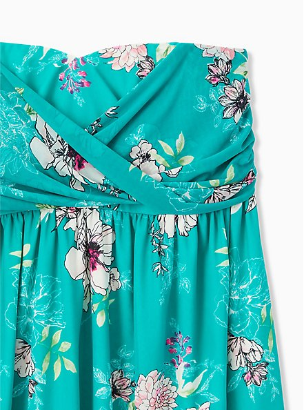Turquoise Floral Mesh Strapless Babydoll Top, FLORALS-GREEN, alternate
