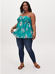 Turquoise Floral Mesh Strapless Babydoll Top, FLORALS-GREEN, hi-res