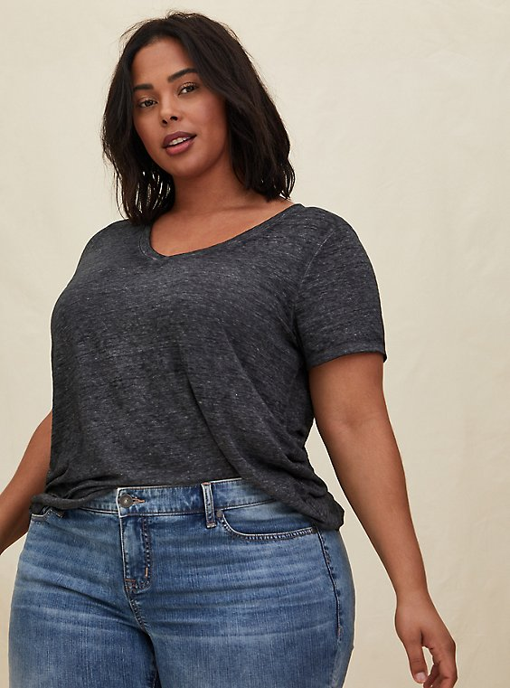 Plus Size Relaxed Fit V-Neck Tee - Vintage Burnout Black, , hi-res