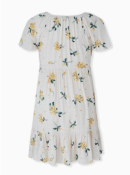 Plus Size Whit & Yellow Floral Crosshatch Shirred Hem Peasant Dress , FLORAL - WHITE, alternate